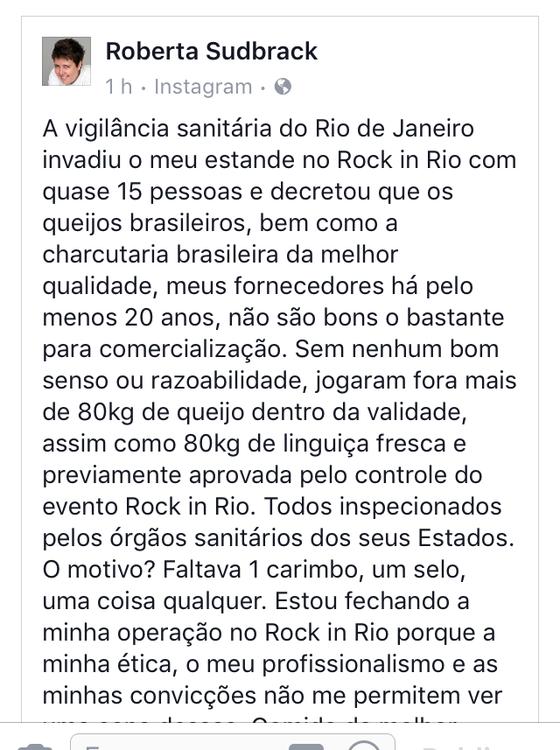 sud insta.jpg - Rock in Rio: Vigilância sanitária joga fora alimentos da chef Roberta Sudbrack