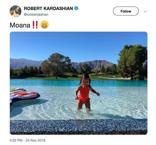 O post de Rob Kardashian comparando sua filha com a personagem Moana, da Disney (Foto: Twitter)