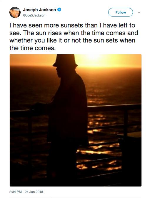 A mensagem de despedida compartilhada por Joe Jackson  (Foto: Twitter)