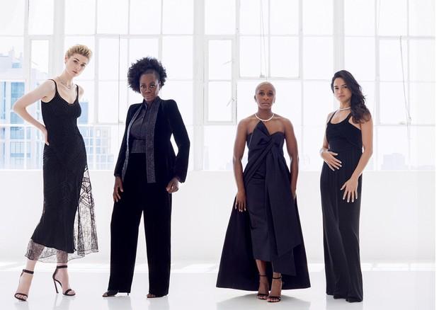 Elizabeth Debicki, Viola Davis, Cynthia Erivo e Michelle Rodriguez em ensaio para a Vogue britânica (Foto: Arthur Elgort)