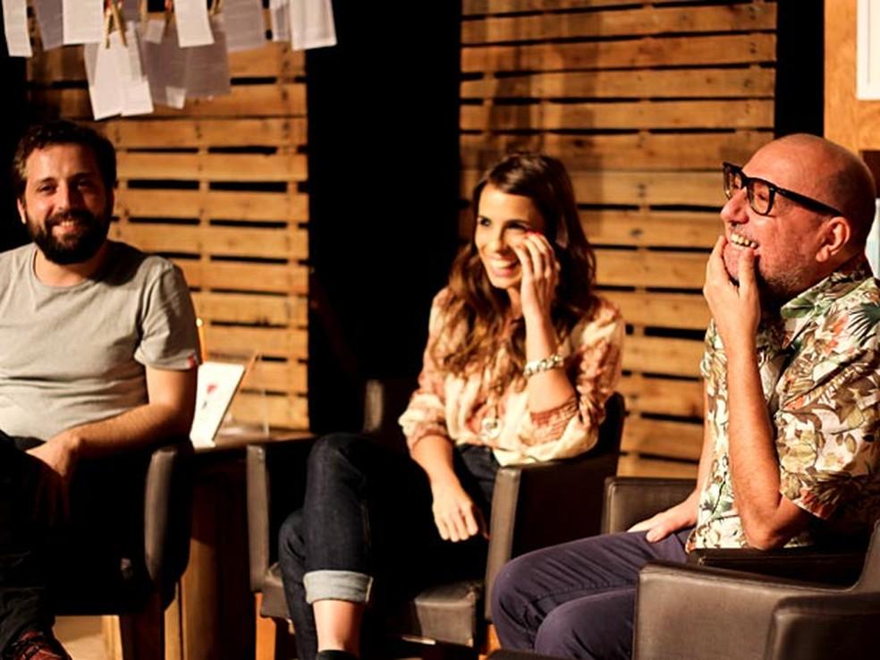 Os autores Greg�rio Duvivier, Maria Ribeiro e Xico S� participam do projeto Voc� � o que voc� l� (Foto: Carla Galr�o/Divulga��o)