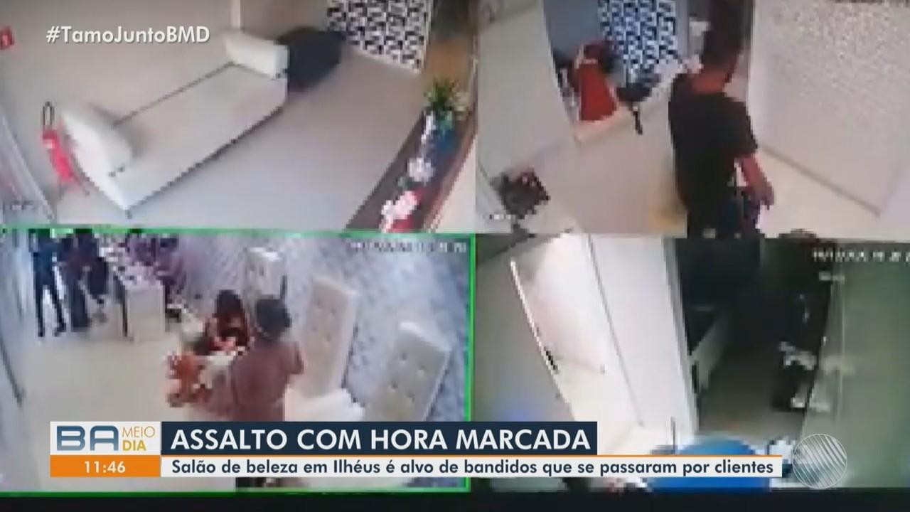 Bandidos se passam por clientes e assaltam salão de beleza em Ilhéus
