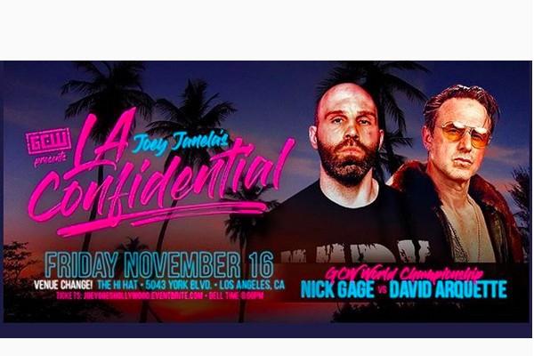 O cartaz da luta entre o ator David Arquette e o lutador profissional Nick Gage (Foto: Instagram)