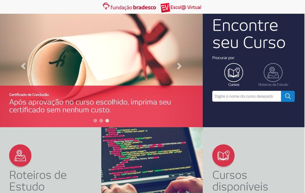 Escola Virtual Bradesco oferece mais de 80 cursos grátis — Foto: Reprodução/Escola Virtual