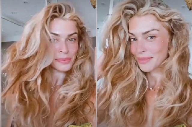 Grazi Massafera compartilhou foto do cabelo com aparência de grisalho (Foto: Reprodução)