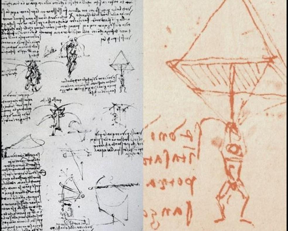 Esboço de Leonardo da Vinci mostra paraquedas piramidal — Foto: Reprodução
