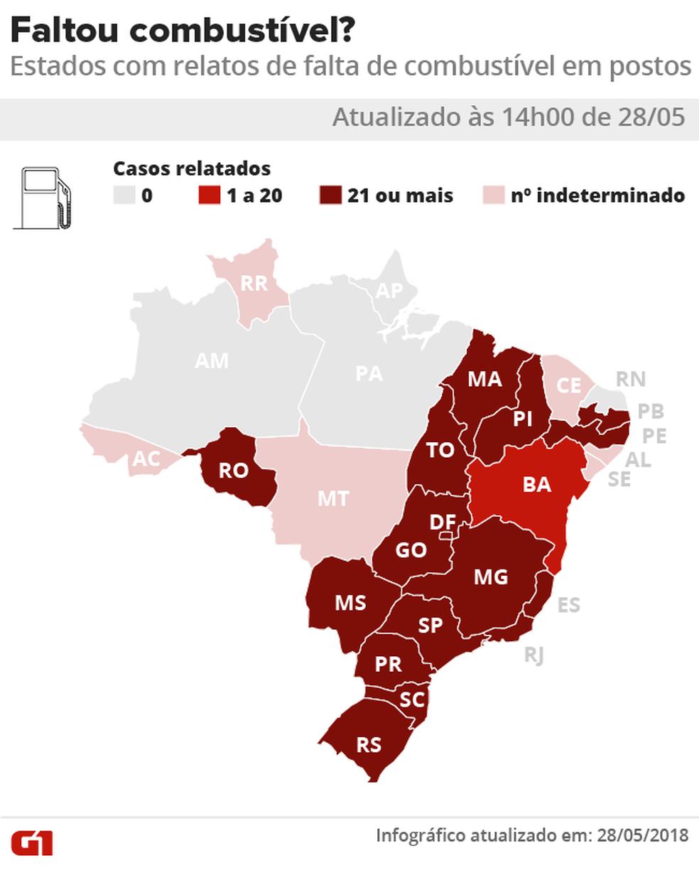 14h - Mapa mostra estados onde há postos sem combustível por causa da greve dos caminhoneiros (Foto: Karina Almeida/G1)
