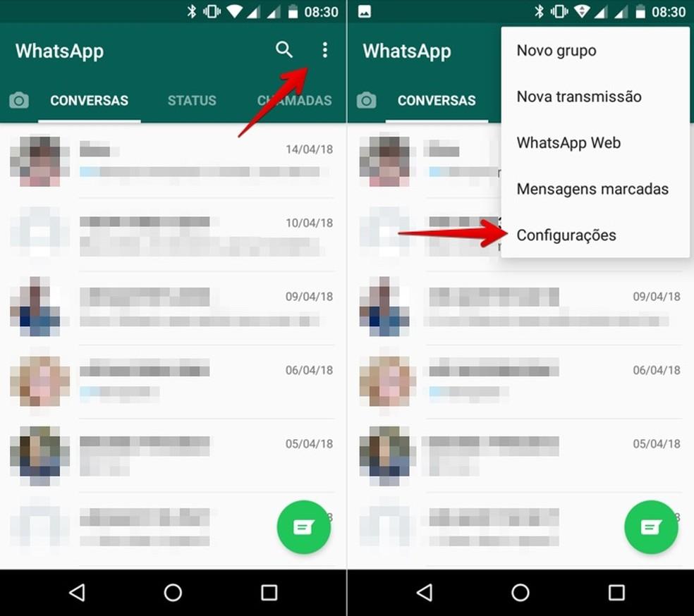 Abra as configurações do WhatsApp (Foto: Reprodução/Helito Bijora)
