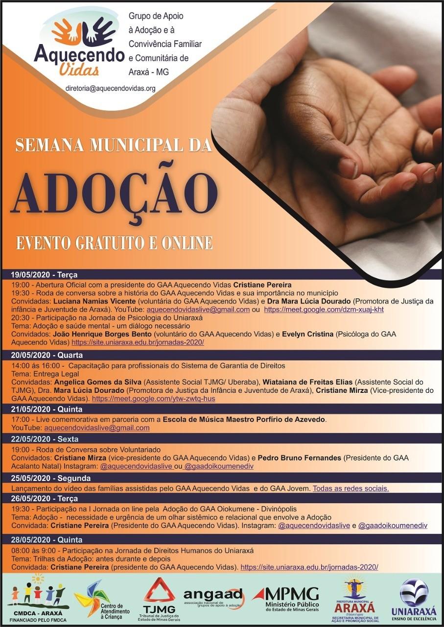 Araxá celebra Dia Nacional da Adoção com eventos on-line