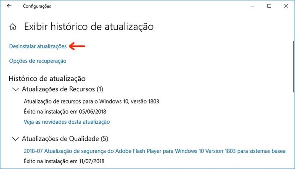 Desinstalação de últimas atualizações no Windows 10 pelo Windows Update (Foto: Reprodução/Raquel Freire)