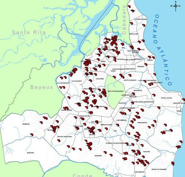 joao pessoa mapa G1   Mapas mostram regiões mais violentas da Paraíba e da capital  joao pessoa mapa