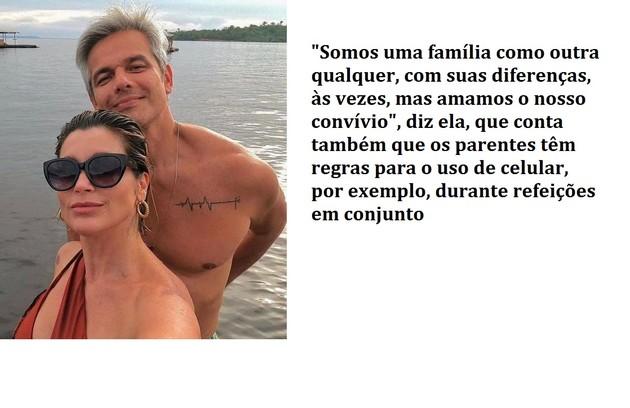 Flávia Alessandra e Otaviano Costa registraram momentos de casal. Ela conta que os dois estipularam regras para uso de celular (Foto: Reprodução)
