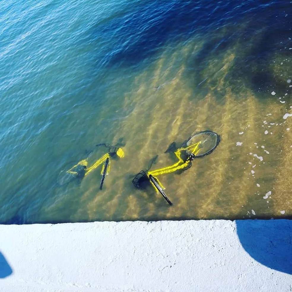 Bicicletas do sistema de compartilhamento são encontradas jogadas ao mar em Ilhabela. — Foto: Luane Santana / Arquivo