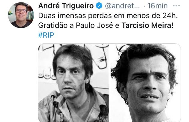 André Trigueiro homenageou Paulo José e Tarcísio Meira (Foto: Reprodução)