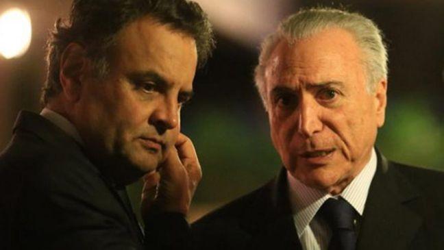 Senador Aécio Neves e o presidente Michel Temer (Foto: Agência Brasil)