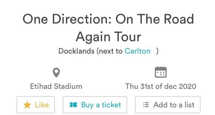 Turnê One Direction: On The Road Again anunciada no site da Ticketmaster da Austrália (Foto: Reprodução / Twitter)