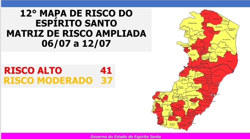 ES tem 41 municípios em risco alto para a Covid-19