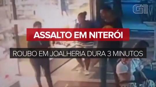 Assaltantes roubam joalheria na Zona Sul de Niterói em 3 minutos; veja vídeo
