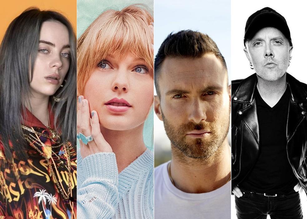 Billie Eilish, Taylor Swift, Maroon 5 e Metallica fazem shows no Brasil no primeiro semestre — Foto: Divulgação