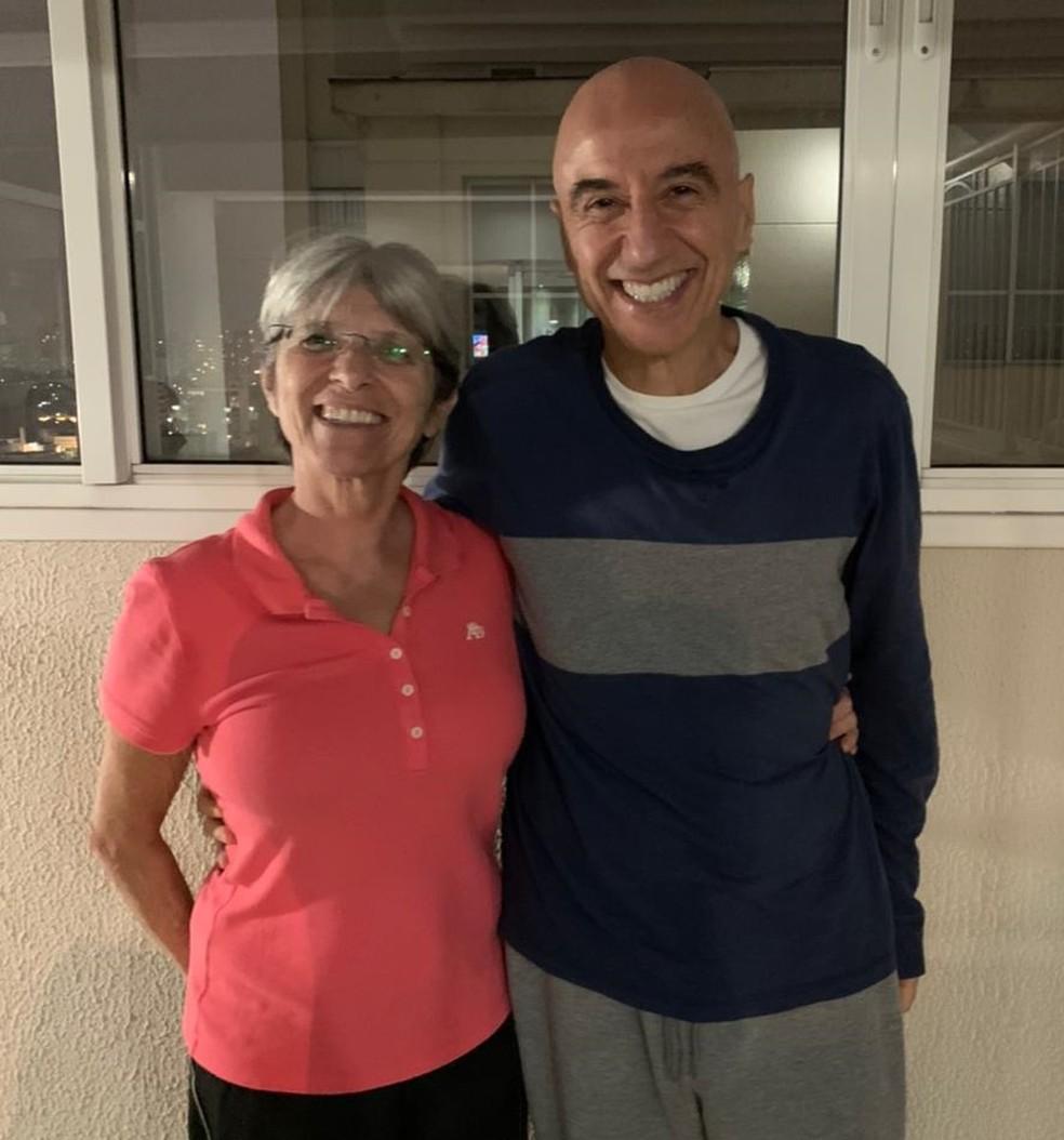 Maria Lígia e Gabriel viajaram aos EUA para tomar a vacina da Covid-19 — Foto: Maria Lígia Reze Pedro/Arquivo pessoal