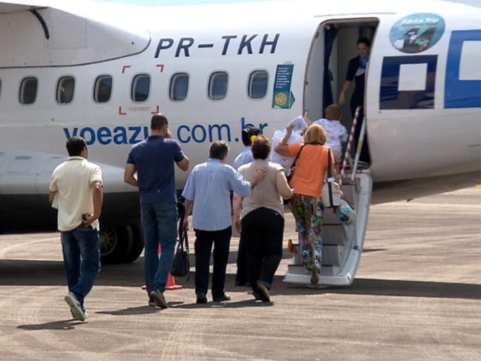Aeroporto de Varginha (MG) ficou sem voos comerciais entre 2014 e 2016, quando a Trip Linhas Aéreas havia sido incorporada pela Azul (Foto: Reprodução EPTV / Claudemir Camilo)