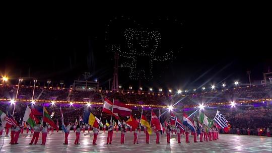 Drones dão show a parte na cerimônia de encerramento em PyeongChang