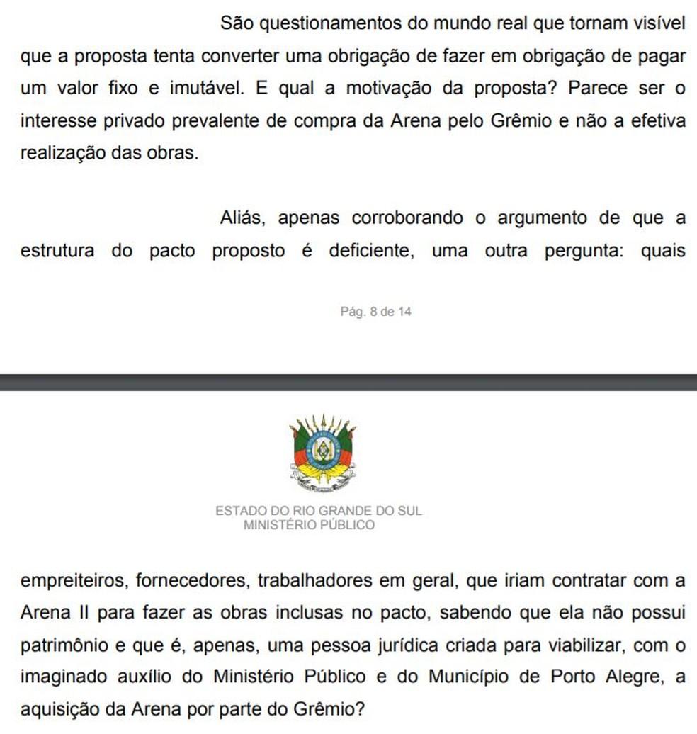 Parte de resposta enviada pelo Ministério Público do RS sobre acordo — Foto: Reprodução