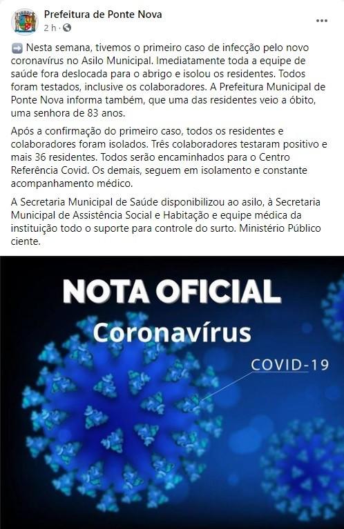 Covid-19: foco em asilo de Ponte Nova foi identificado a partir de diagnóstico positivo de funcionária
