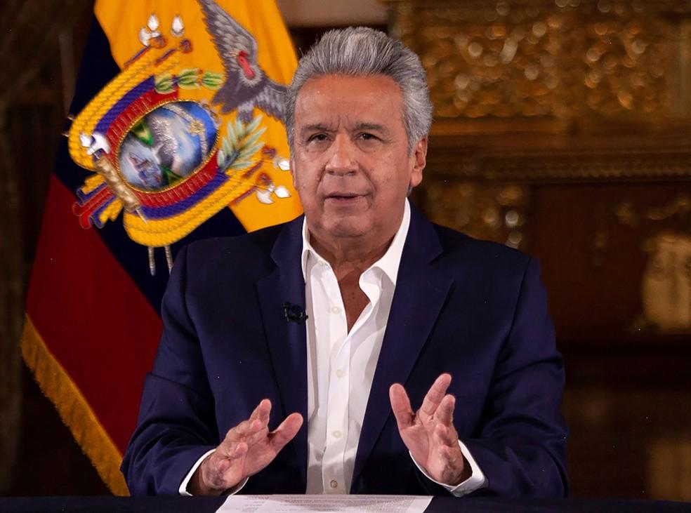 Presidente do Equador, Lenín Moreno, declarou 'estado de exceção' e toque de recolher em oito regiões do país — Foto: Presidência do Equador / AFP