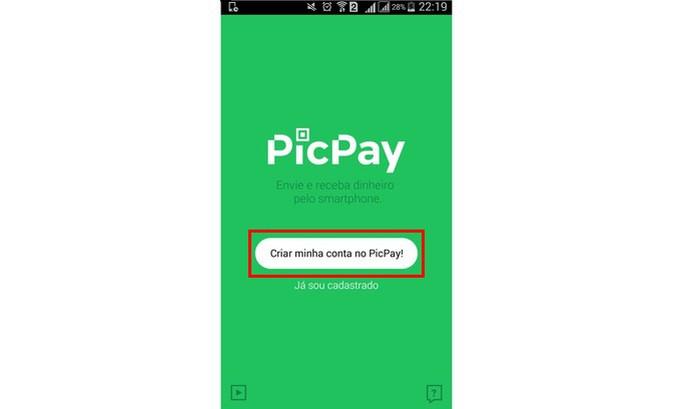 """Clique em """"Criar minha conta"""" para começar a usar o PicPay (Foto: Reprodução/Isabela Giantomaso)"""