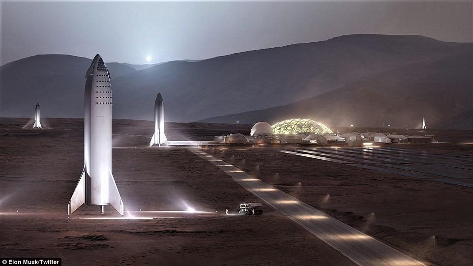 Base Alfa de Marte, produzida pela SpaceX (Foto: Reprodução/Twitter Elon Musk)