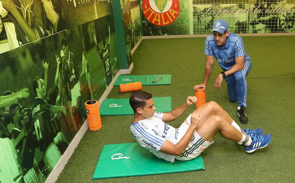 Jean durante a recuperação no Palmeiras — Foto: Cesar Greco/Ag. Palmeiras