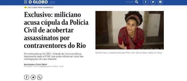 Entrevista com Orlando Curicica foi feita por meio de cartas, com autorização da Penitenciária Federal de Mossoró (RN)