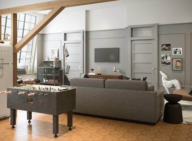 Joey manteria o lugar simples e em tons de cinza para combinar com um apartamento de solteiro (Foto: Modsy / Divulgação)