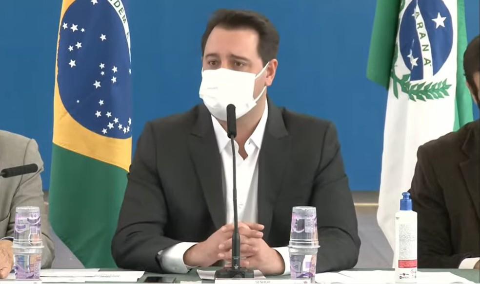 Ratinho Junior (PSD) anunciou, nesta terça-feira (4), o retorno a partir do dia 10 de maio. — Foto: Reprodução/Youtube