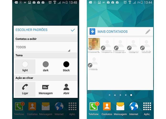 Contacts Widgets tem até integração com WhatsApp (Foto: Reprodução/Barbara Mannara)