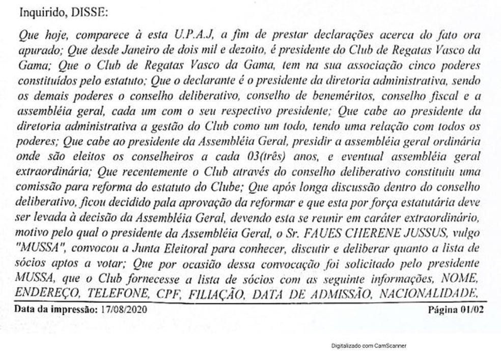 Termo de declaração de Campello na Delegacia de Polícia — Foto: Reprodução