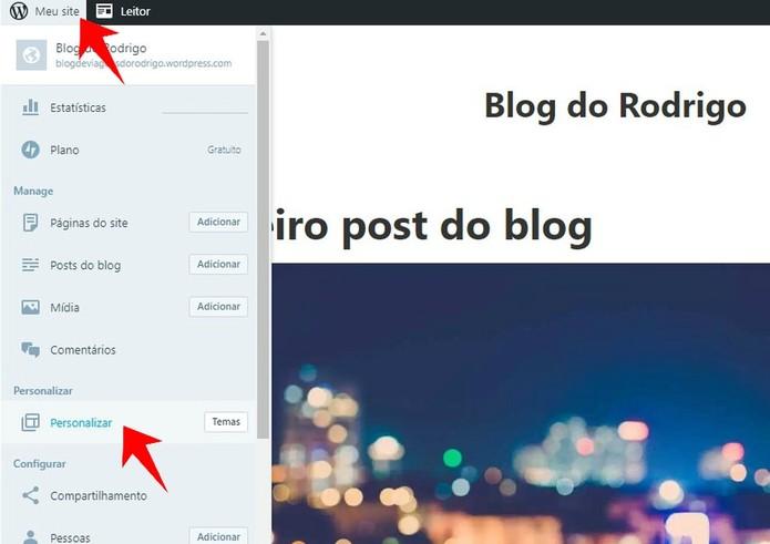 Acesse o menu para personalizar seu novo site do WordPress (Foto: Reprodução/Rodrigo Fernandes)