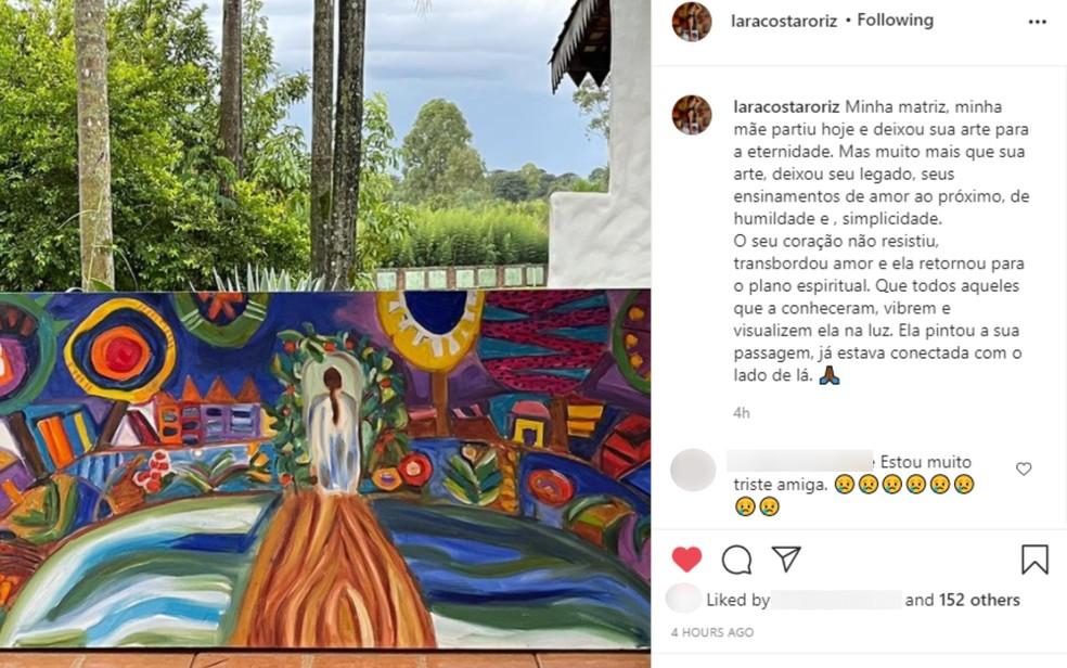 Lara Costa faz homenagem para a mãe Iza Costa nas redes sociais — Foto: Reprodução/Instagram