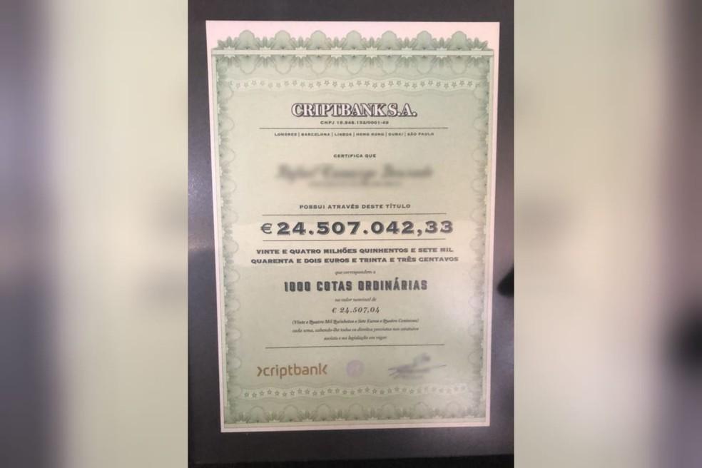Preso em operação contra fraude em criptomoedas tinha 'certificado' de conta com 150 milhões — Foto: Gaeco/Divulgação