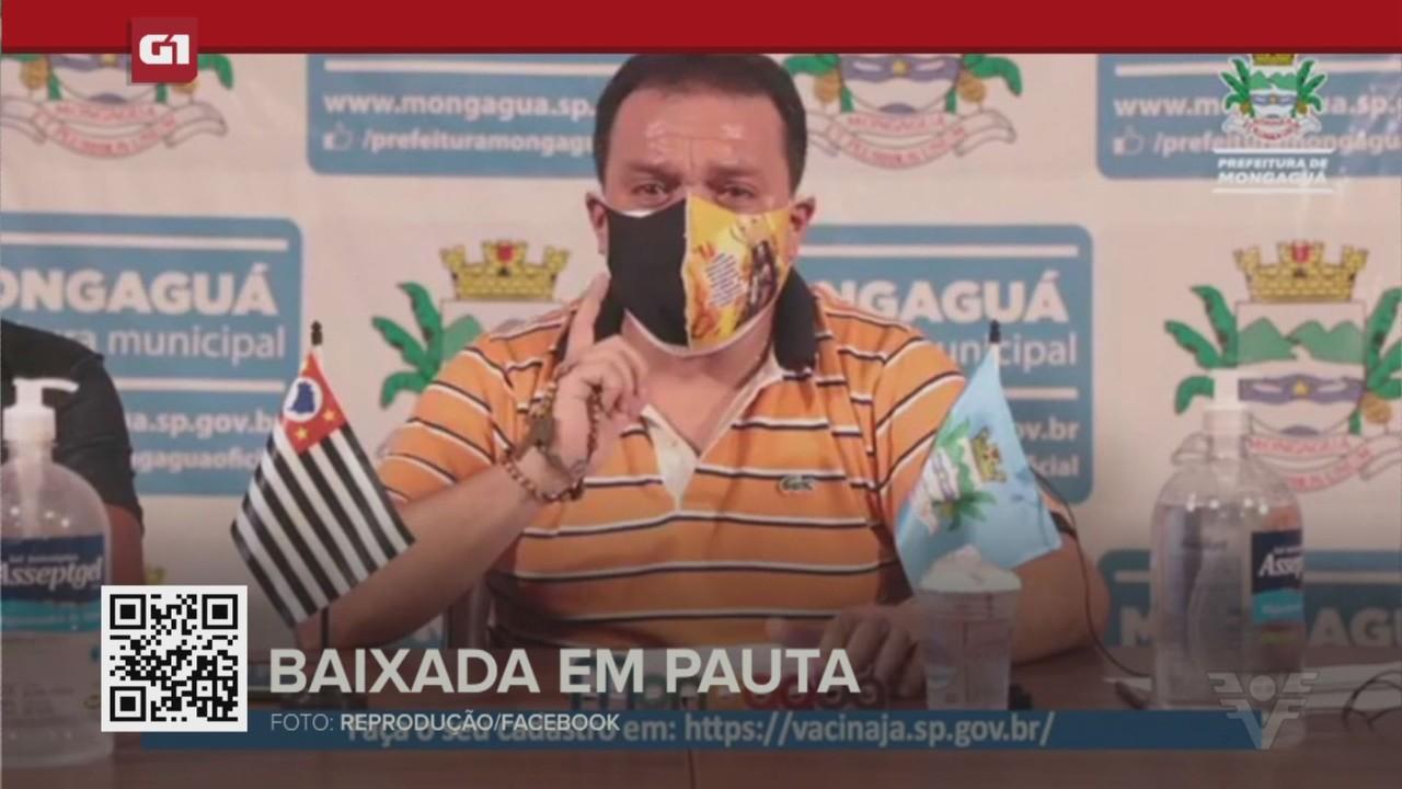 G1 em 1 Minuto - Santos: Prefeito fala sobre administração de Mongaguá durante luto