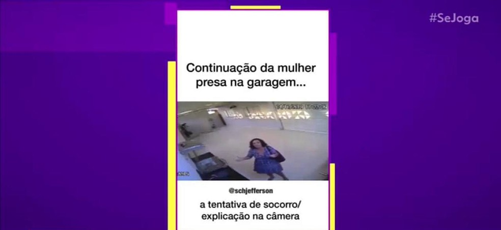 A advogada Marilene ficou presa dentro de uma garagem  — Foto: TV Globo