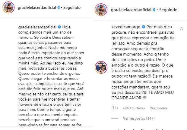 Graciele Lacerda e Zezé Di Camargo trocam declarações na web (Foto: Reprodução/Instagram)