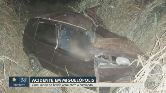 Colisão entre carro e caminhão mata casal em rodovia de Miguelópolis, SP