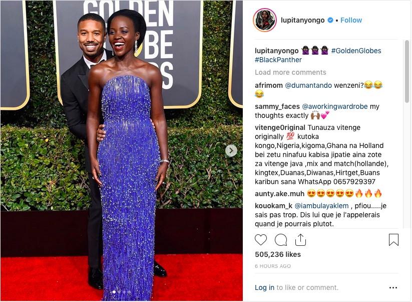 A foto compartilhada por Lupita Nyong'o nas redes sociais, com ela na companhia de Michael B. Jordan (Foto: Instagram)