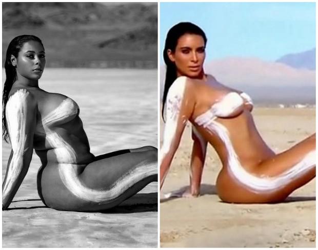 Tabria Majors recria foto de Kim Kardashian (Foto: Instagram)