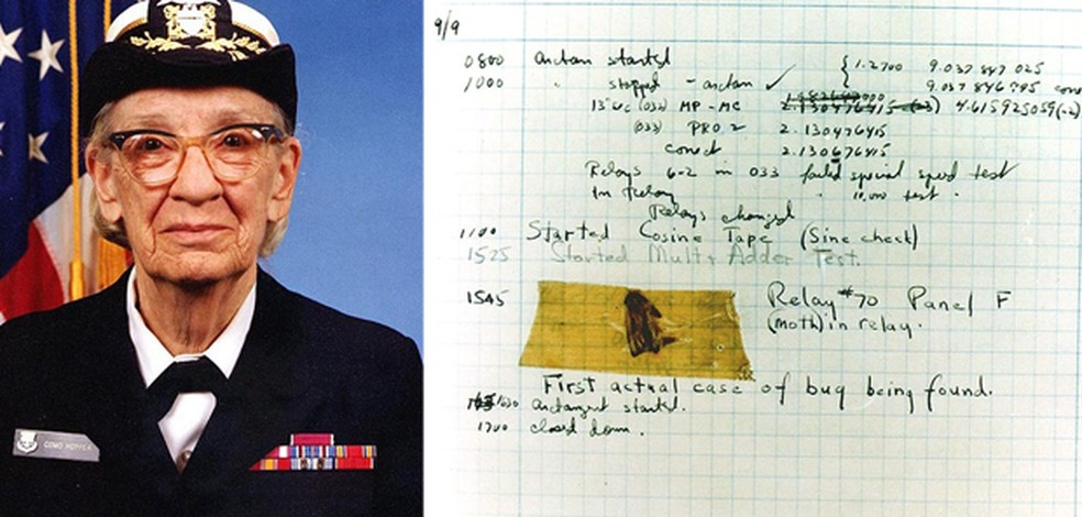 Além do compilador e do COBOL, Grace Hopper foi a primeira a cunhar o termo 'bug' para se referir a um erro no sistema. À direita, uma mariposa colada a um relatório sobre o computador de cálculos Mark II — Foto: Wikimedia Commons, U.S. Naval Historical Center Online Library Photograph