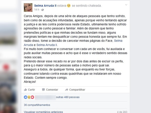 Juíza Selma Arruda fez desabafo no Facebook (Foto: Reprodução/Facebook)