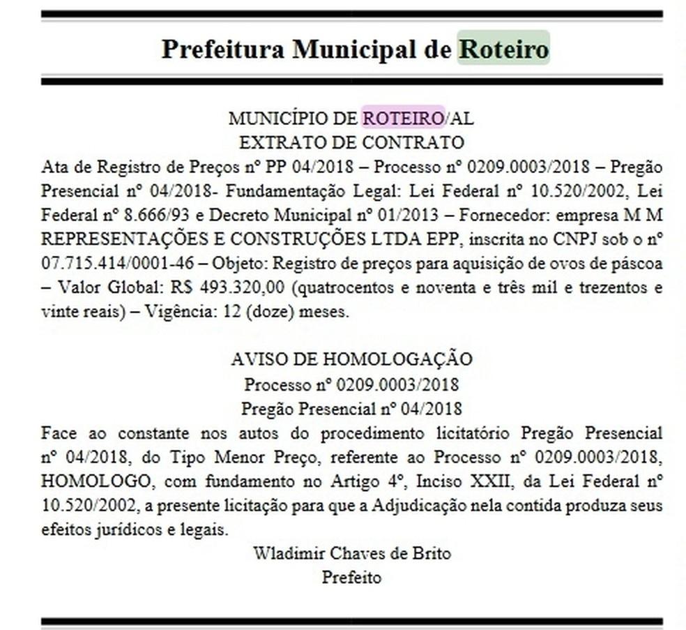 57479883f4 ... Publicação no Diário Oficial de Alagoas traz extrato de contrato e  aviso de homologação da prefeitura