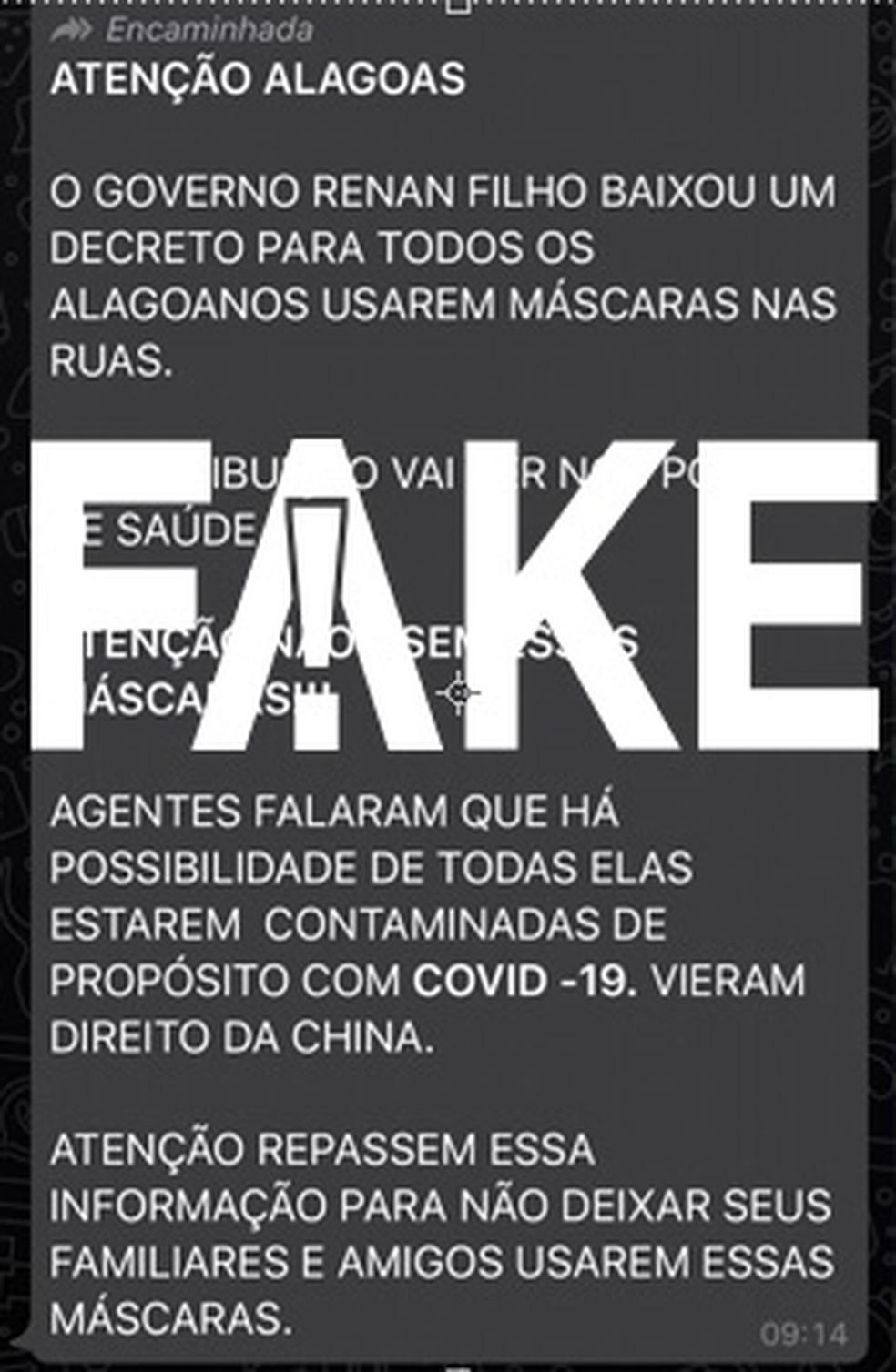 Mensagem falsa que circula em Alagoas — Foto:  G1